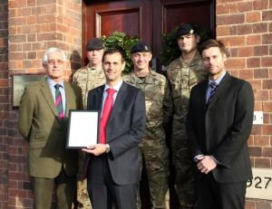 eddie mewies collects certificate of support for SaBRE