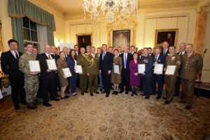 eddie mewies with prime minister david cameron and other members of the armed forces community